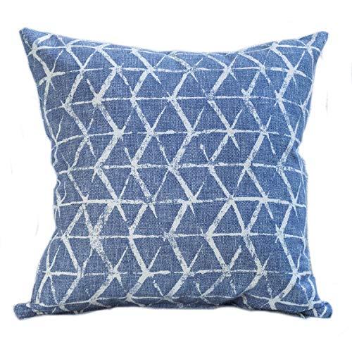 The Coastal Cushion Company Kissenbezug, doppelseitig, Indigoblau 43,2 x 43,2 cm Geometrisches Abstraktes Muster, Tie-Dye-Effekt, Dunkelblau 100% Baumwolle - Denim Tie Dye Tie