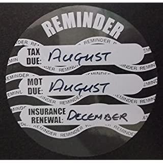 Road Tax, MOT and Insurance Due reminder windscreen sticker disc x2