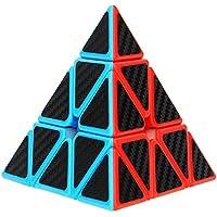 Aiduy Triángulo Pyraminx Puzzle Cube Pyramid Cubo Magico con Pegatina de Fibra de Carbono Velocidad