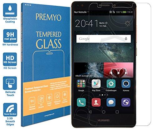 PREMYO vetro temperato Huawei Mate S. Pellicola vetro temperato Mate S con una durezza di 9H e bordi arrotondati da 2,5D. Pellicola in vetro Huawei Mate S (un poco più piccolo del display curvo)