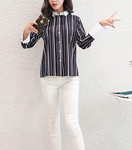 Bigood Femme Classique Chemise aux Rayures Manches Longues Lâche en Chiffon Bleu