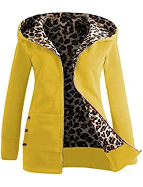 SHOBDW Mujeres de terciopelo más gruesa sudadera con capucha leopardo cremallera abrigo ropa outwear S-2XL