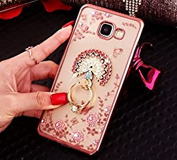 for Samsung A9 Pro Peacock Ring Crystal TPU Flower Butterfly Case with Detachable Rotating Ring Stand for Samsung Galaxy A9 Pro (Rose Gold)…