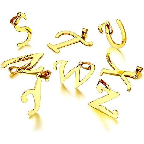 JewelryWe Gioielli collana con pendente da uomo donna acciaio inox Nome Lettera iniziale ciondolo catenina lunga 21.65