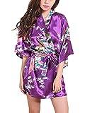 Feoya Damen Seide Morgenmantel Bademantel Kurze Kimono Robe Negligee mit Pfau und Blume V-Ausschnitt 3/4 Ärmeln Satin Nachtwäsche - Lila