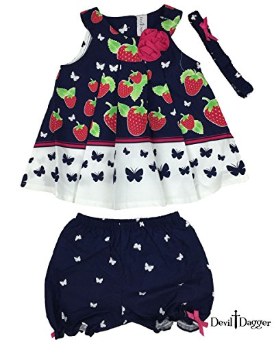 Kind Devil Girl (Devil Dagger Baby Kid Set, 3 Pieces, Top/shorts/headband, Sweet Strawberry Field Princess Baby Dress (24M, Strawberry Butterfly))
