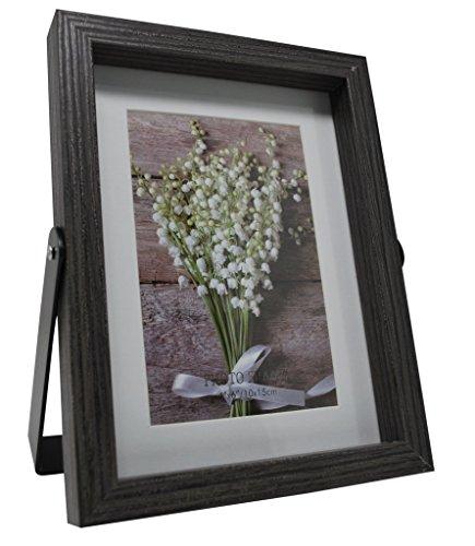 Grau Desktop Bild Rahmen mit Schwarz Metallständer-erhältlich in 4x 6und 5x 7, holz, grau, 10 x 15 cm -