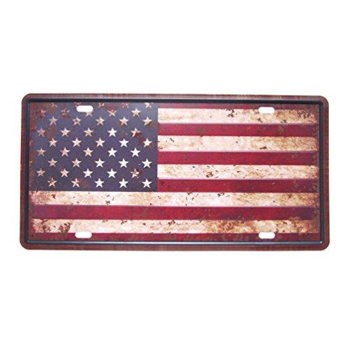 favorict Distressed Vintage Style uns Flagge License Plate American Flag Nummernschild Souvenir 30,5x 15,2cm - American Flag License Plate