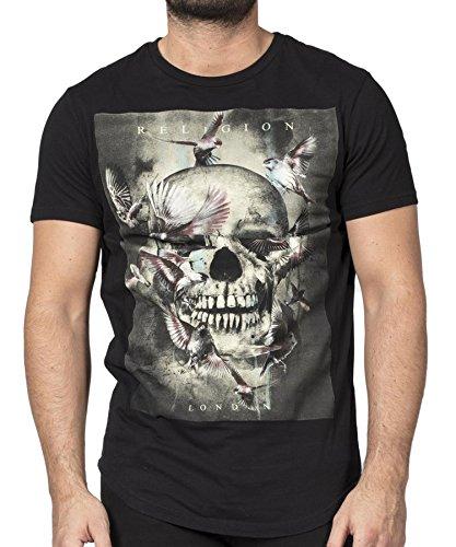 Religion Clothing Herren T-Shirt Shirt Canary Skull Schwarz Curved