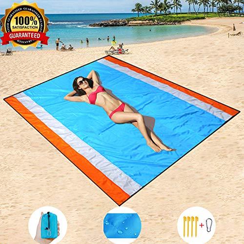 HISAYSY Strandmatte, 210 x 200 cm XXL extra große wasserdichte Taschen-Picknickdecke, sanddicht und waschbar mit 4 Pfählen
