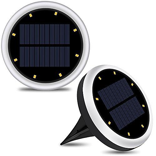 2 Pack Bodenleuchte (neue verbesserte Version) Solarbetriebene Außen LED Wasserdicht Rasen Lichter Außenleuchte Lampe Garten Landschaft Beleuchtung Bodeneinbauleuchte, Silber (Solar-panel Für Pflanzen)