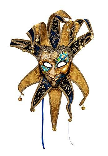 Samt Kostüm Spitze - Original venezianische Deko-Maske mit Jokergesicht und Kragen, handgefertigt, blaues Mosaikdekor und Spitzen aus Samt und italienischem Damast, gold und blau. Made In Italy
