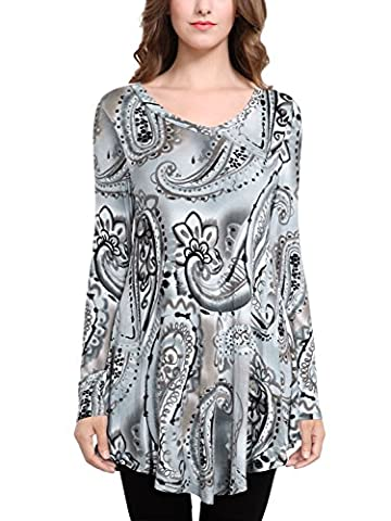 BAISHENGGT Women's Floral Printed Casual Long Sleeve Top Flared Swing Mini Dress Grey XX-Large