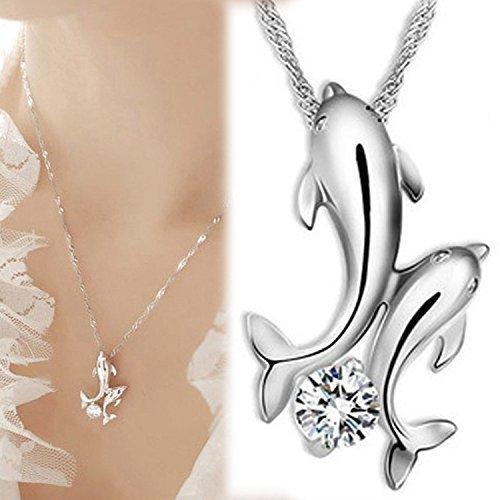 Delfini-Collana a catenina con pendente, per donna, confezione regalo, ideale come regalo da donna