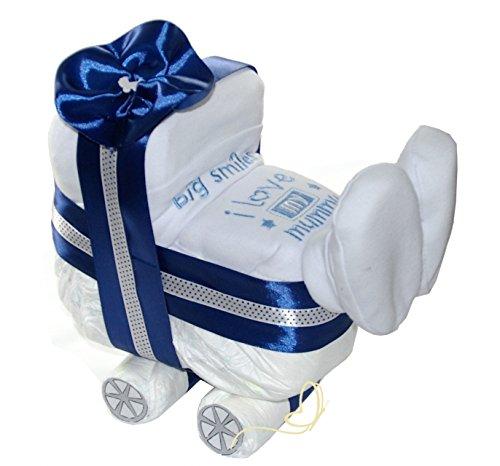 Windelwagen blau – 3 tlg Geschenk Geburt zur Junge – Baby Windeltorte – dubistda© handmade