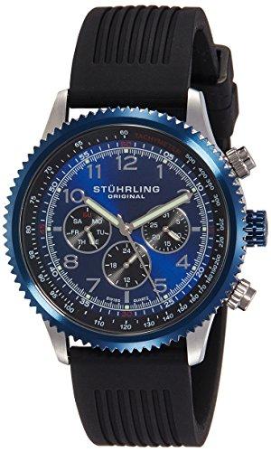 Stuhrling Original 858R.01 Orologio da Polso, Display Multifunzione, Uomo, Cinturino Silicone, Nero