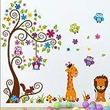 K-LIMIT Wandtattoo Eule Baum Giraffe Löwe Wandsticker DIY Deko Wandaufkleber Sticker Owl