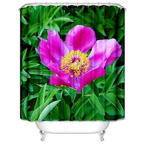 Bishilin Antischimmel 3D Duschvorhang 150x200 Blume Grüne Pflanze Lustiger 3D Duschvorhang