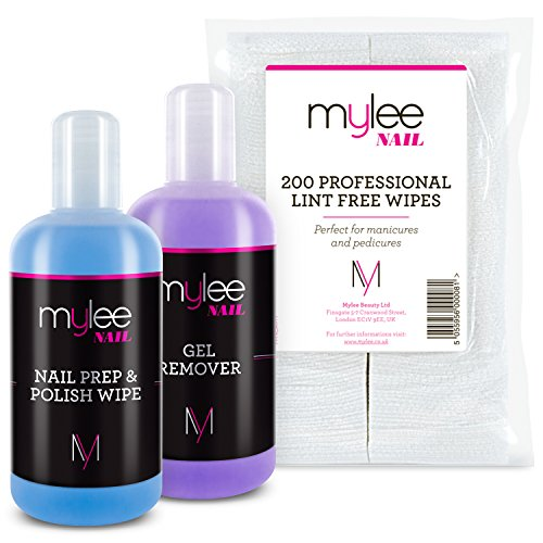 Mylee Salon Manicure Kit Which Includes Nail Prep & Wipe Polish Remover & Nail Wipes UV LED Kit Package for a Professional Gel Polish Soak Off Manicure and Pedicure.
