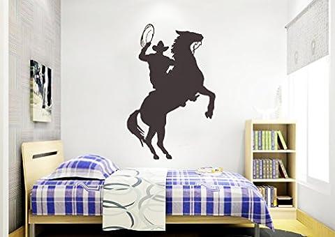 homemay PVC Stickers Muraux Silhouette d'équitation Western Bétail Enfant Vitrage den décoration greenwallpaper86.4cm x58.4cm, noir, 86.4cm x58.4cm