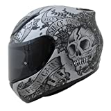 MT Rache Totenkopf und Rose Motorrad Helm Integralhelm - Grau/Schwarz L(59-60cm)