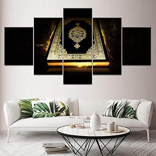 Leinwand HD-Drucke Moderne Drucke Wandkunst Poster Modulare Leinwand Islam Bilder 5 Stücke Alte Bibel Gemälde Dekor Für Wohnzimmer arbeit 200x100 cm