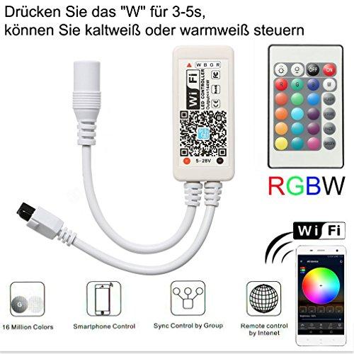 Wifi Drucken (Mini RGBWW/RGBCW Led Streifen Kontroller mit Alexa,Wifi/App gesteuert,Fernbedienung Steuerung Controller Arbeiten,16 Millionen Farben,20 Dynamische Modi,Sound Aktiviert, Statische Farbwechsel)