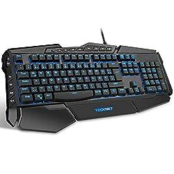 TECKNET Gaming Tastatur(QWERTZ), LED Illuminated Programmierbar Anti-Ghosting Gaming Keyboard mit USB Kabel, 7 Hintergrundfarben, 4 benutzerdefinierte Tasten, Wasserrdicht