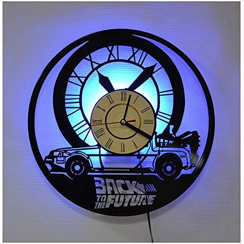 MXHSX Zurück in die Zukunft Vinyl Record Wanduhr, LED Leuchtende 12 Zoll Retro Vinyl Record Clock Dekoration Sieben Farben
