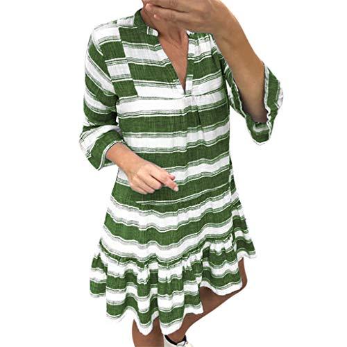 en Sommer Langärmliges Kleid V-Ausschnitt Strandkleider Lose Streifen Minikleid Sommerkleid Shirtkleider 3/4 Ärmel Blouse Langes Boho Sommerkleider Casual A-Linie Kleid ()