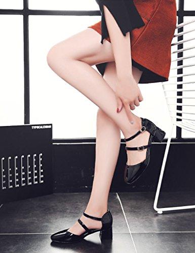 HWF Chaussures femme Shallow Mouth Sandales Femme Printemps Eté Tête Carrée Chaussures à talons hauts Souliers simples de femme ( Couleur : Vin rouge , taille : 40 ) Noir