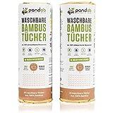 pandoo 100% Bambus Küchenrolle 2er Pack - waschbare Haushaltstücher, umweltfreundliche Papiertücher, ersetzt bis zu 60 Haushaltsrollen, saugstärker und reißfester als herkömmliche Küchentücher, Papierhandtücher und Putzlappen