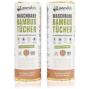 100% Bambus Küchenrolle 2er Pack – waschbare Haushaltstücher, umweltfreundliche Papiertücher, ersetzt bis zu 60 Haushaltsrollen, saugstärker und reißfester als herkömmliche Küchentücher