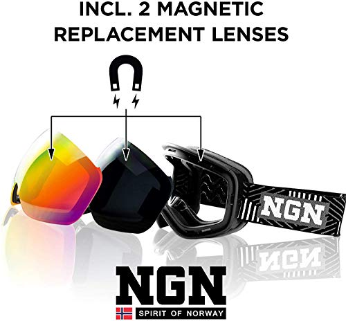 NGN Skibrille | Snowboard Brille | UV Schutz | Wechselsystem magnetisch | verspiegelt | Ski Brille für Damen und Herren | Anti-Beschlag | helmkompatibel | Ski Goggles Unisex