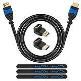 deleyCON HDMI Set - 10m HDMI Kabel + 2x HDMI Winkel Adapter (90° + 270° Grad) + 3x Klett-Kabelbinder + Mikrofaser Reinigungstuch - HDMI 2.0 / 1.4a kompatibel High Speed mit Ethernet (Neuster Standard) ARC 3D 4K Ultra HD (1080p/2160p)