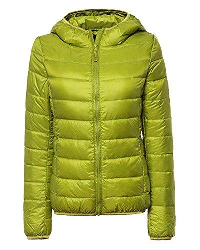 ZhuiKun Damen Daunenjacke Leicht Winter Jacke Daunenmantel Übergangsjacke Steppjacke Mit Kapuze Fruchtgrün M