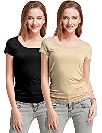 Fashion Line Premium Quality Stylish Printed Round Neck T Shirts For Women _Material : Cotton (Pack of 2 )