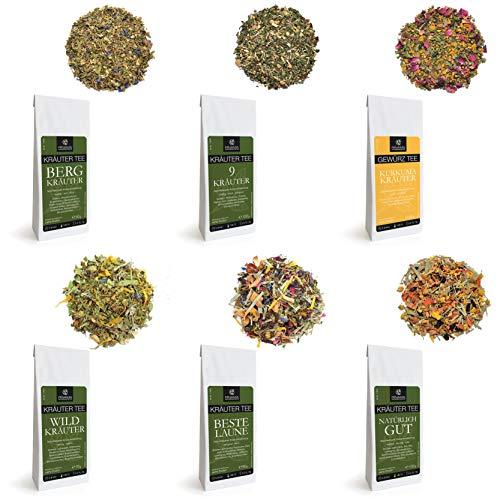 Rinama Kräutertee-Geschenkset - Set mit 6 Packungen verschiedener Kräutertees - Loseblatt-Tee - Schöne Geschenkbox für Teeliebhaber - Österreichischer Standard - Feinste Auswahl