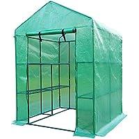 Outsunny Invernadero de Jardín Vivero Casero Plantas con 3 Pisos 143x143x195cm Marco Acero Jardinería Invernadero Verde