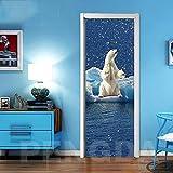 3D Stickers Porte Interieure,LMHWW Animal Ours Polaire Pvc Imperméable Et Amovible Poster Mural Effet Décoration Créatif Art Poster Salon Cuisine Chambre Salle De Bain Papier Peint