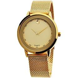 OUMOSI Simple Mesh Strap Watch Women Quartz Wristwatch (Yellow)