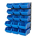 BiGDUG Plastic Bin Kit Wall Garage Storage Parts Bins Kit Tool Organiser Shelving (1 x Blue Bin Kit)