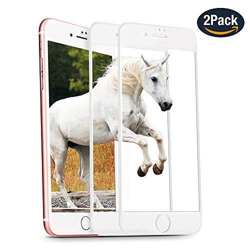 Panzerglas Schutzfolie für iPhone 7 iPhone 8 SANFEE 2.5D gehärtetes Glas 2 Stück Vollständige Abdeckung Ultra HD Clear Kratzfest Einfach zu installieren Gebogene Folie für Apple iPhone (iphone 7/8, Weiß)
