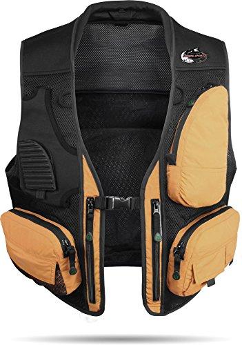 normani Sommer Anglerweste mit Netzfutterkonstruktion mit 9 praktischen Taschen Farbe Coyote Größe XL