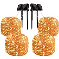 Gluckluz Solar String Lights 200 LED Outdoor Copper Wire Light Fairy Lighting Waterproof Starry Decoration Light for Bedroom Patio Garden Party Wedding Holiday Festival Gate Yard (4 Pack, Warm White)