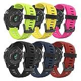 MoKo Bande Garmin Fenix 3 / Fenix 5X Watch, Bande de Montre de Remplacement en Silicone Souple pour Garmin Fenix 3 / Fenix 3 HR/Fenix 5X Montre Intelligente, (Lot de 6), Coloré 2