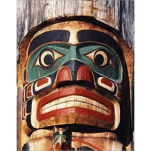 Stampa su legno 90 x 120 cm: Canada, British Columbia, Vancouver, Island, Duncan. Totem Pole detail di Walter Bibikow / Danita Delimont