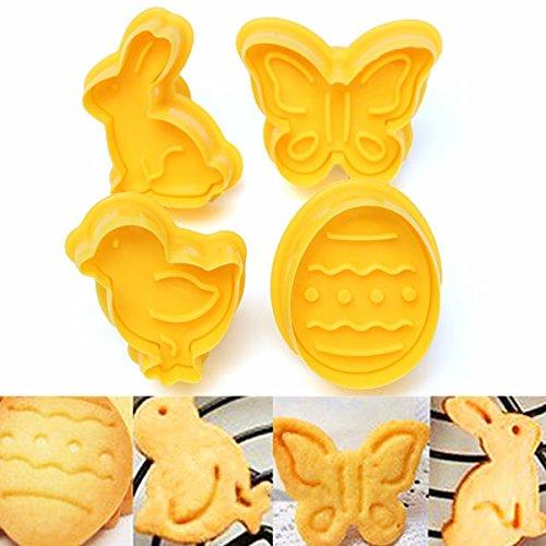 Aliciashouse 4pcs Pascua galletas émbolo cortador pájaro mariposa torta del huevo conejo Fondant molde de la hornada
