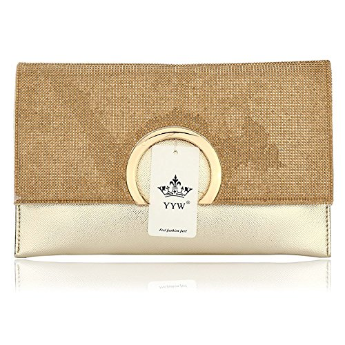 HT Party Handbag, Poschette giorno donna Gold
