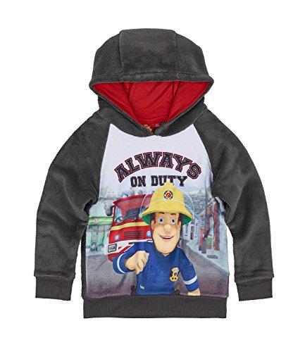 Feuerwehrmann Sam Jungen Sweatshirt mit Kapuze aus Teddy Vlies - grau - 116 (Kinder-sweatshirt Feuerwehrmann)
